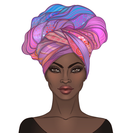 African American pretty girl. Vector Illustration of Black Woman with glossy lips and turban. Great for avatars. Illustration isolated on white. Vettoriali