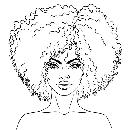 African American niña bonita. Ilustraciones Vectoriales de Black Woman. Ideal para avatares. Libro para colorear para adultos. Carta de rostro Ilustración de vector