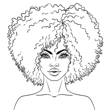 Afro-Amerikaanse mooie meid. Vectorillustratie van zwarte vrouw. Geweldig voor avatars. Kleurboek voor volwassenen. Gezichtsgrafiek. Stock Illustratie
