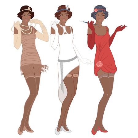 flapper: Moda retro: chica de glamour de los años veinte (mujer afroamericana). Ilustración del vector. Estilo de Flapper 20's. Plantilla del diseño de la invitación del partido del vintage. Señora negra de lujo.