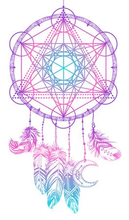 Native American Indian talisman dream catcher met Metatrons Cube, Flower of life, veren, moon. Vector hipster illustratie geïsoleerd op wit. Etnisch ontwerp, boho, dreamcatcher tribalsymbool.