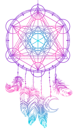 Native American Indian talisman dream catcher with Metatrons Cube, Flower of life, feathers, moon. Vector hipster illustration isolated on white. Ethnic design, boho, dreamcatcher tribal symbol. Illustration