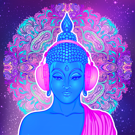 Modern Buddha listening to the music in headphones in neon colors isolated on white. Vector illustration. Vintage psychedelic composition. Indian, Buddhism, trance music. Sticker, patch design.