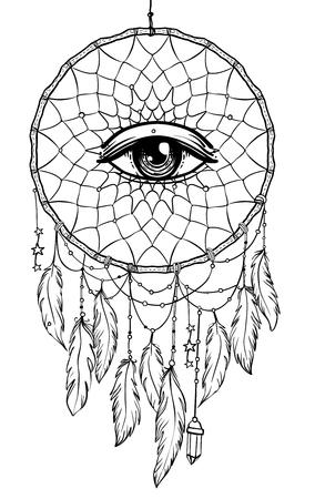 Dibujado a mano Native American Indian talismán atrapasueños con ojos, plumas y luna. Ilustración de hipster de vector aislado en blanco. Diseño étnico, boho chic, símbolo tribal. Libro de colorear para adultos.