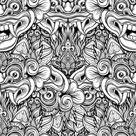 Barong. Traditional ritual Balinese mask. Vector decorative ornate outline black and white seamless pattern. Hindu ethnic symbol, tattoo art, yoga, Bali spiritual design for print, t-shirt, textile.