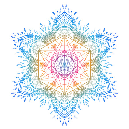 Decorative mandala round pattern with sacred geometry element Metatron Cube, powerful symbol, Flower of Life. Alchemy, philosophy, spirituality. Design music cover, t-shirt, poster, flyer. Astrology. Vettoriali