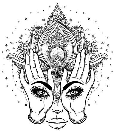Mysterious Kreatur mit Blick auf die Hände über Vektor Zier Lotus Blume und betende Hände, gemusterten indischen Paisley. Einladungselement. Tattoo, Astrologie, Alchemie, Boho und magisches Symbol. Vektorgrafik