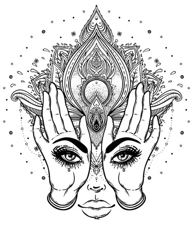 Mysterious creature with eyes on the hands over vector ornamental Lotus flower and praying hands, patterned Indian paisley. Invitation element. Tattoo, astrology, alchemy, boho and magic symbol. Illustration