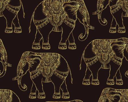 Beautiful hand-drawn tribal style elephant. Seamless pattern design, ornaments. Ethnic background, spiritual art, yoga. Indian god Ganesha, Thai symbol. T-shirt print, posters