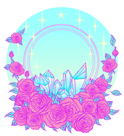gothic style: Mystical background with sky, moon and red roses on a white background. Blue ribbon. Tattoo. Hipster style, pastel goth, vibrant colors. Vector illustration. Illustration