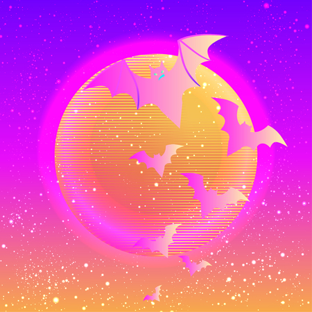 transylvania: Halloween vector illustration: creepy cute vector bat flying against full moon in neon pastel colors. Retro gothic style. Colorful rainbow concept.