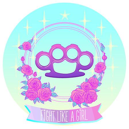 Kämpfe wie ein Mädchen Rosa Glamour Messing Knöchel im floralen Rahmen. Rosen und Sterne. Pastell goth Konzept.