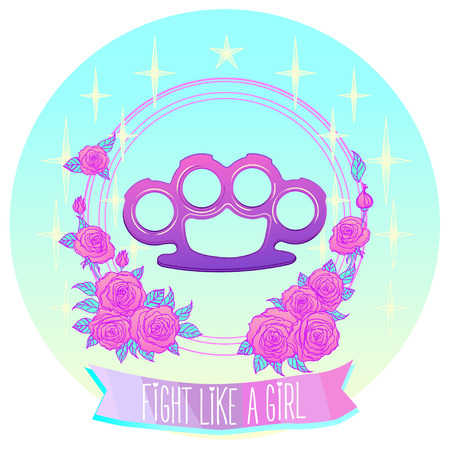 Fight like a girl. Pink glamour brass knuckles in floral frame. Roses and stars. Pastel goth concept.