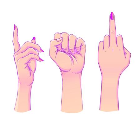 Palma humana levantada. Conjunto de manos en diferentes gestos emociones y signos. Ilustración de vector aislado en blanco.