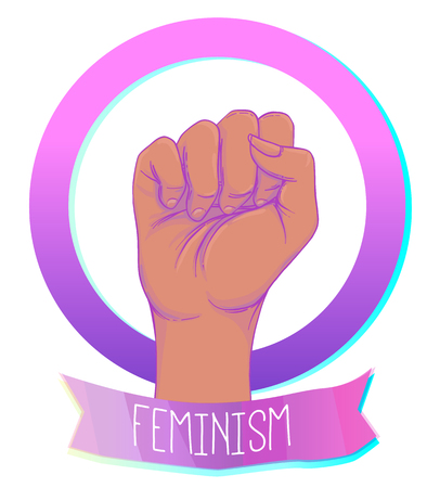 African American Womans hand with her fist raised up. Girl Power. Feminism, anti-racism concept. Realistic style vector illustration in pink on white. Sticker, patch graphic design.