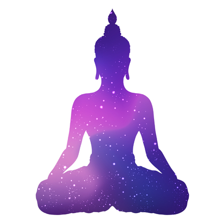 White silhouette of sitting Buddha with space and stars outside. Vector illustration. Vintage composition. Indian, Buddhism, Spiritual. Tattoo, yoga, spirituality