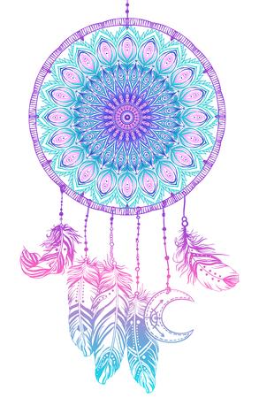 Dibujado a mano Native American Indian talismán dreamcatcher con plumas y la luna. Vector hipster colorido gradiente ilustración aislado en negro. Diseño étnico, elegancia del boho, símbolo tribal.