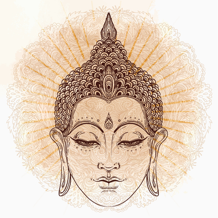 Buddha. Gold Vektor-Illustration isoliert auf schwarz. Skizzenhaft, handgezeichnet Vintage Zeichnung. Indischen, buddhismus, spirituellen motiven Tätowierung, Yoga, Spiritualität.