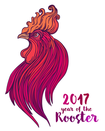 flamy: Rooster, Chinese zodiac symbol of the 2017 year. Colorful vector illustration isolated on white. Zentangle inspired. Head of cock in red colors. Design for t-shirt print, greeting card, calendar.