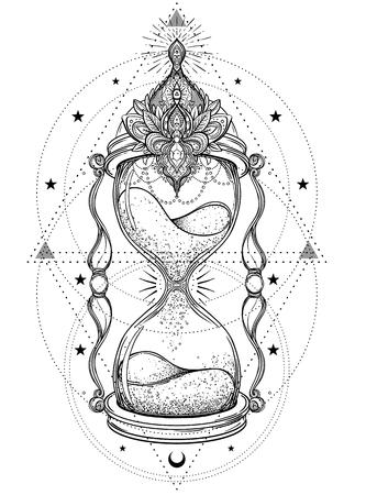 Sablier antique décoratif avec illustration de roses isolé sur blanc. Art dessiné à la main. Croquis pour tatouage par points, design hipster t-shirt, affiches vintage. Livre colorier pour adultes.