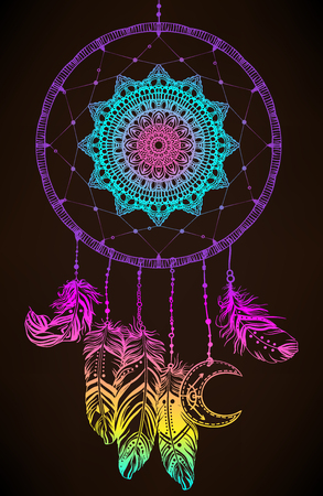 Hand drawn Native American Indian talisman dreamcatcher with feathers and moon. Vector hipster colorful gradient illustration isolated on black. Ethnic design, boho chic, tribal symbol. Vectores