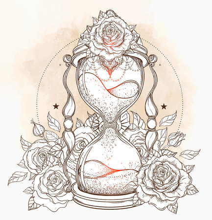 Decorative clessidra antica con illustrazione di rose isolata on white. Arte vettoriale disegnata a mano. Sketch per il tatuaggio dotwork, disegno della maglietta di hipster, manifesti di stile dell'annata. Libro da colorare per adulti.