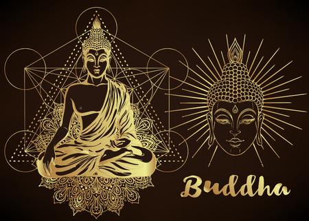 Yoga, ensemble d'illustration vectorielle de méditation. Motifs de Paisley Hindou. Bouddha, spiritualité, estampes, éléments floraux ornementaux avec dessin au henné, autocollants dorés, tatouages ??flash instantanés, cartes et tirages. Banque d'images - 79138057