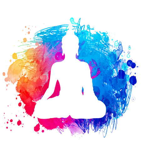 Sitting Buddha silhouette over watercolor background. Vector illustration. Vintage decorative composition. Indian, Buddhism, Spiritual motifs. Tattoo, yoga, spirituality.  Ilustração