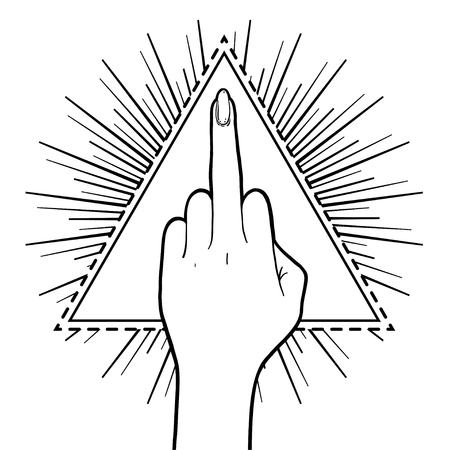 insulting: Female hand showing middle finger over triangle with rays. Feminism concept. Realistic style vector illustration in pink colors. Sticker, patch, poster graphic design.