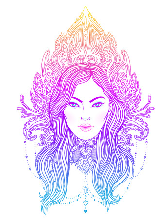 Tribal Fusion Boho Diva. Beautiful Asian divine girl with ornate crown, kokoshnik inspired. Bohemian goddess. Hand drawn elegant illustration. Lotus flower, ethnic art, patterned Indian paisley.