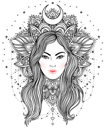 Tribal Fusion Boho Diva. Beautiful divine girl with ornate crown, kokoshnik inspired. Bohemian goddess. Hand drawn elegant illustration. Lotus flower, ethnic art, patterned Indian paisley.