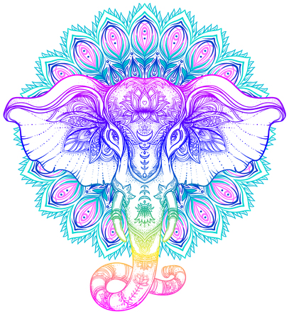 Beautiful hand-drawn tribal style elephant over mandala. Colorful design with boho pattern, psychedelic ornaments. Ethnic poster, spiritual art, yoga. Indian god Ganesha, Indian symbol. T-shirt print.