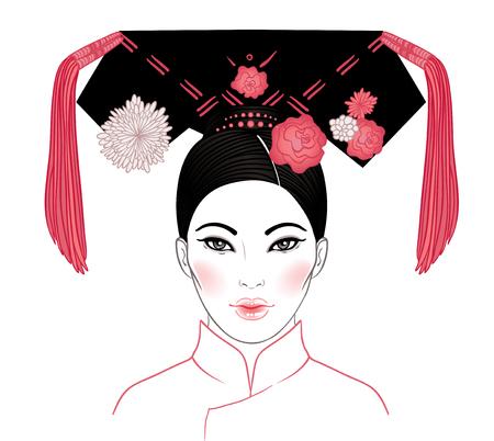 Noble Manchurian Vrouw van de Qing-dynastie, 19e eeuw. Traditioneel Chinees kapsel met een haarbord, dubbele hoorns genoemd, versierd met bloemen en kwastjes. Vectorillustratie geïsoleerd op wit. Stockfoto - 79136857