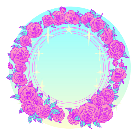 Mystical background with sky, moon and red roses on a white background. Blue ribbon. Tattoo. Hipster style, pastel goth, vibrant colors. Vector illustration. Illustration