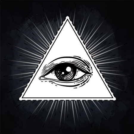 rosicrucian: Eye of Providence. Masonic symbol. All seeing eye inside triangle pyramid. New World Order. Hand-drawn alchemy, religion, spirituality, occultism. Isolated vector illustration. Conspiracy theory.