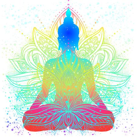 Zittend Boeddha silhouet. Vintage decoratieve vector illustratie. Handgetekende mandala. Mehenidi sierlijke decoratieve stijl. Yoga studio, Indiase, Boeddhisme, Esoterische motieven. Tattoo, yoga, spiritualiteit.