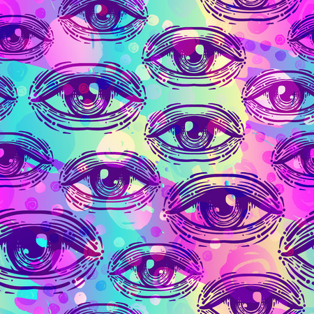 gothic style: Eyes, seamless pattern in vintage psychedelic style. Ethnic background for textiles, fabric design, scrapbook, wrapping paper, wallpaper. Vector illustration. Astrology, religion. Conspiracy theory.