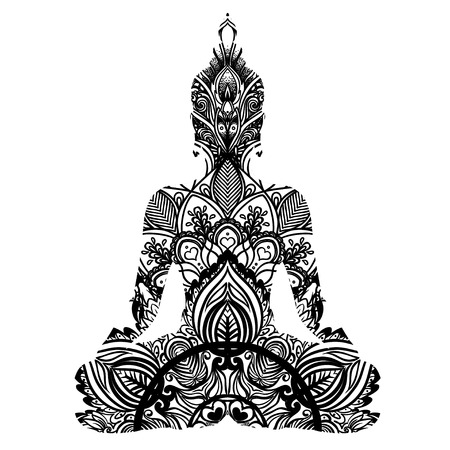 Sitting Buddha silhouette. Vintage decorative vector illustration isolated on white. Mehenidi ornate decorative style. Yoga studio, Indian, Buddhism, Esoteric coloring book for adults. Illustration