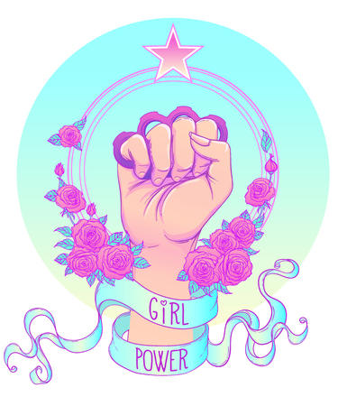 Fight like a girl. Woman's hand with crystal quartz brass knuckles. Fist raised up. Girl Power. Feminism concept. Realistic vector illustration in pastel goth colors.