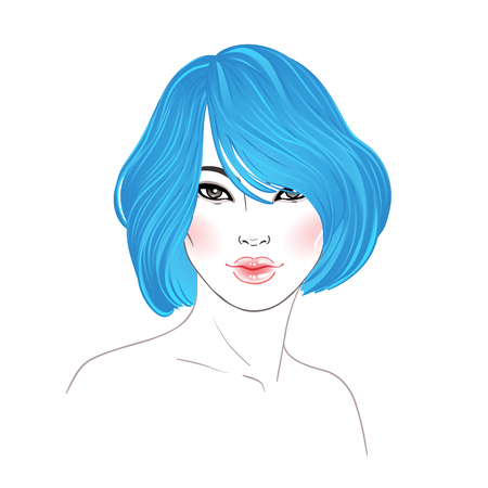 Koran beauty. Fashion illustration. Hairstyle, dyed blue hair. Hand drawn vector art isolated on white. Skincare, professional hairdressing, beauty salon concept. Illustration
