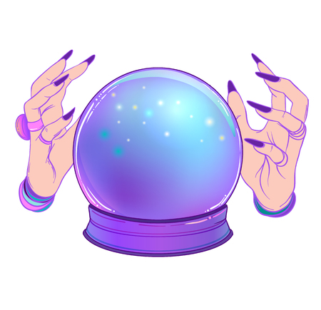 Crystal Ball with purple female alien hands over gradient mesh background. Creepy cute vector illustration. Gothic design, mystic magician symbol, pastel colors. Future telling, Halloween concept.