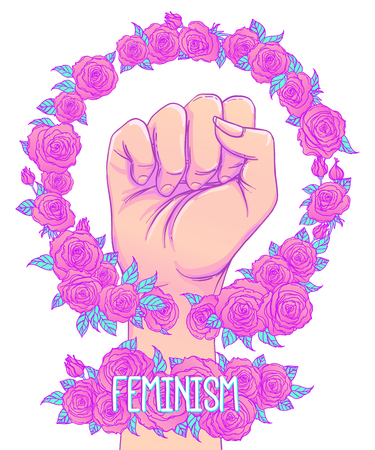 Fight like a girl. Womans hand with crystal quartz brass knuckles. Fist raised up. Girl Power. Feminism concept. Realistic vector illustration in pastel goth colors.