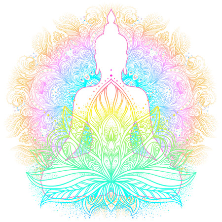 Sitting Buddha silhouette. Vintage decorative vector illustration. Hand drawn mandala. Mehenidi ornate decorative style. Yoga studio, Indian, Buddhism, Esoteric motifs. Tattoo, yoga, spirituality.