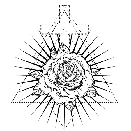 Rosicrucianism symbol. Blackwork tattoo flash. All seeing eye, Cristian cross with rose flower. Sacred geometry. Vector illustration isolated on white. Tattoo design, mystic symbol. New World Order. Illustration