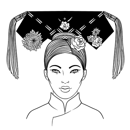 exotics: Noble Manchurian Woman of Qing Dynasty, 19th Century. Traditional Chinese hairstyle with a hair board, called double horns, decorated with flowers and tassels. Vector illustration isolated on white.