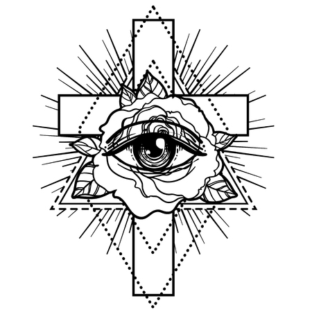 rosicrucian: Rosicrucianism symbol. Blackwork tattoo flash. All seeing eye, Cristian cross with rose flower. Sacred geometry. Vector illustration isolated on white. Tattoo design, mystic symbol. New World Order. Illustration