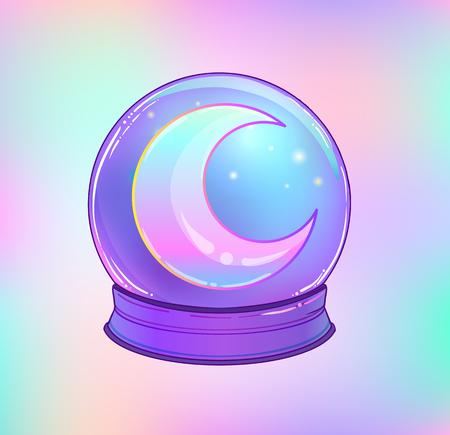 Ball di cristallo con con luna arcobaleno e stelle colorate isolati su bianco. Illustrazione carino di vettore carino. Design gotico, simbolo magico mistico, colori pastello. Futuro raccontando, concetto di Halloween.