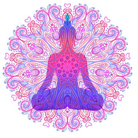 Sentado silueta de Buda sobre ornamental flor de loto. Esotérico ilustración vectorial. Vintage decorativo, indio, Buddhism, arte espiritual. Hippie tatuaje, espiritualidad, dios tailandés, yoga zen. Ilustración de vector