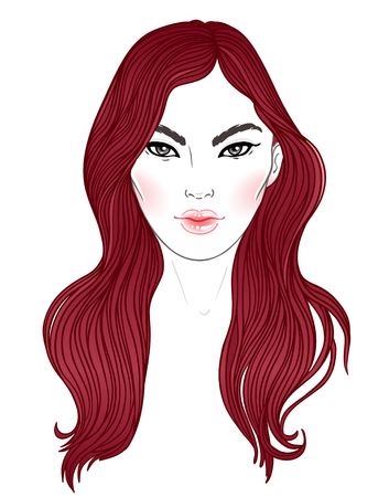 Young Asian woman with long hair. Fashion vector illustration isolated on white. Can be used as a face chart or for hairdressers Skincare, professional hairdressing, beauty salon concept.