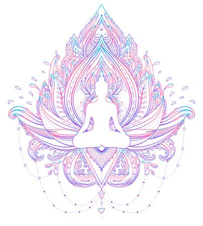 Sitting Buddha silhouette over ornamental Lotus flower. Esoteric vector illustration. Vintage decorative, Indian, Buddhism, spiritual art. Hippie tattoo, spirituality, Thai god, yoga zen.